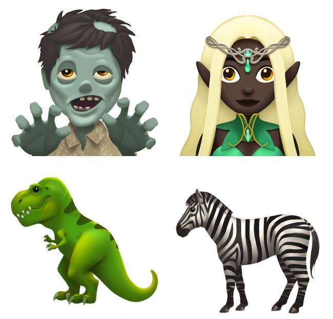 Two new fantasy emojis alongside two new animal emojis.