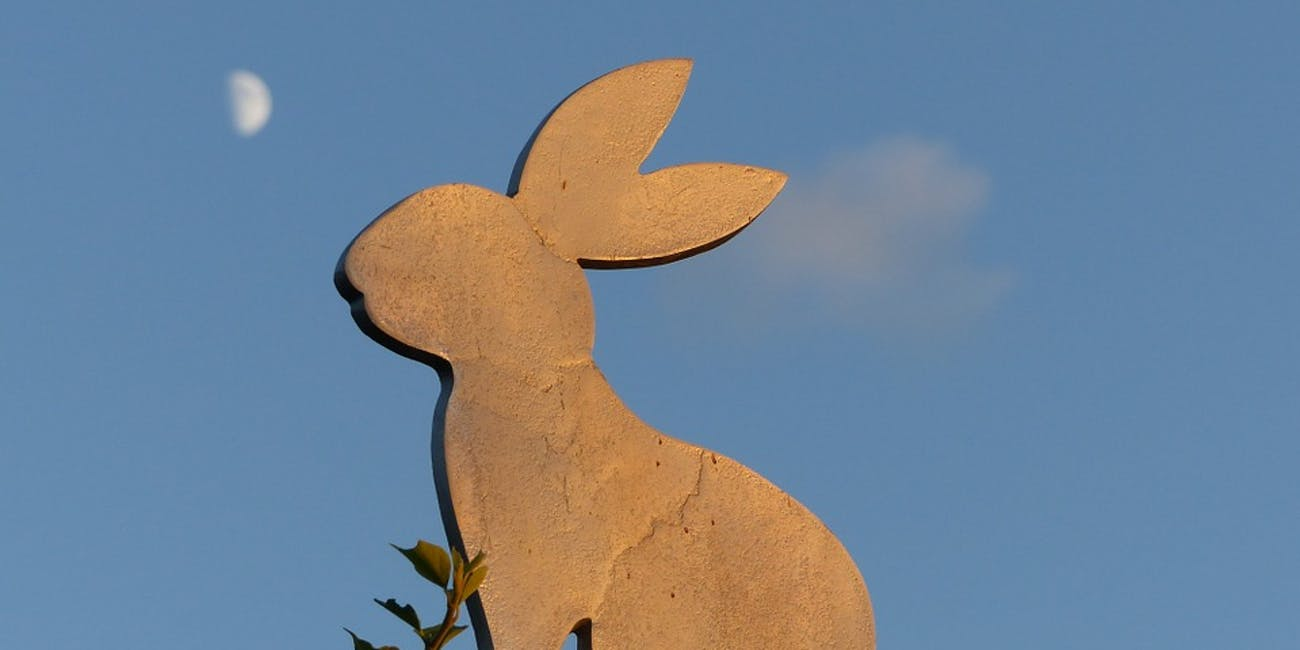 Easter rabbit and moon