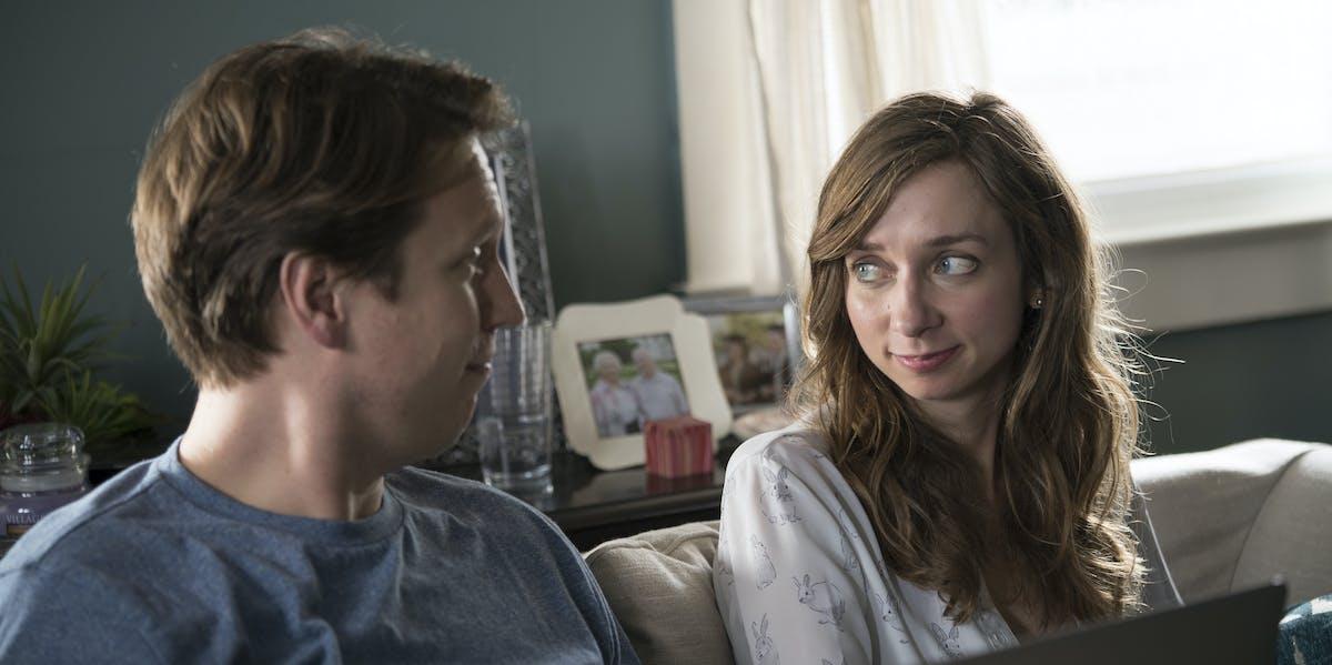 Pete Holmes and Lauren Lapkus in 'Crashing'