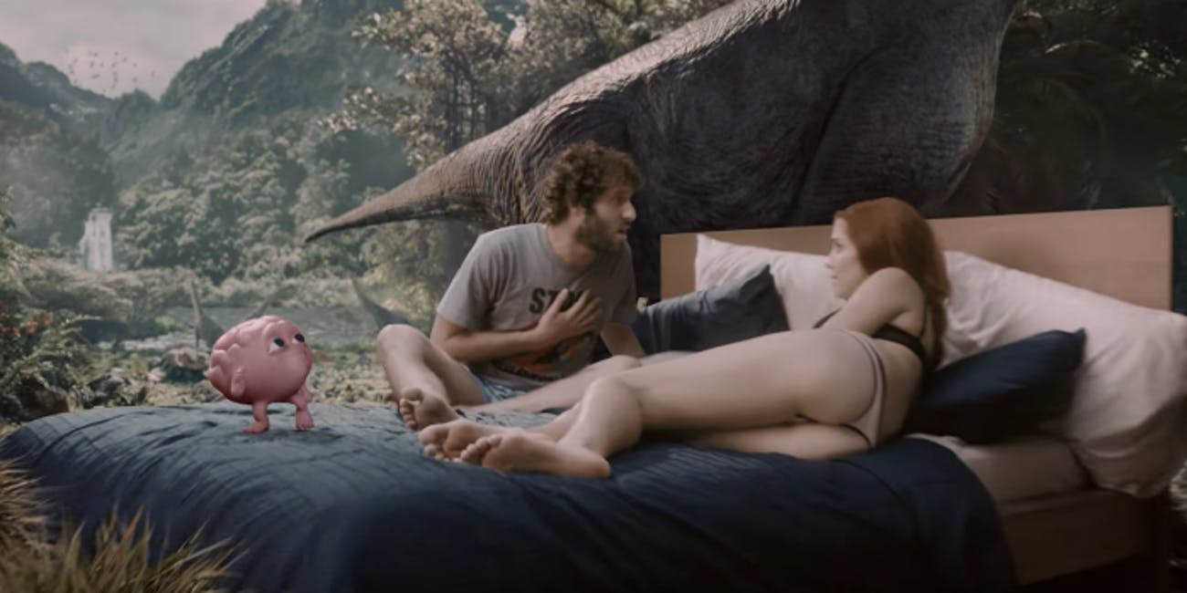 Lil Dicky and Taylor Misiak in the 'Pillow Talking' music video