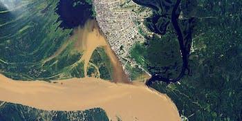 Satellite view of Iquitos, Amazon