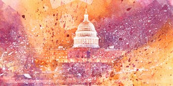 Acrylic DC Capitol - Yellow & Purple