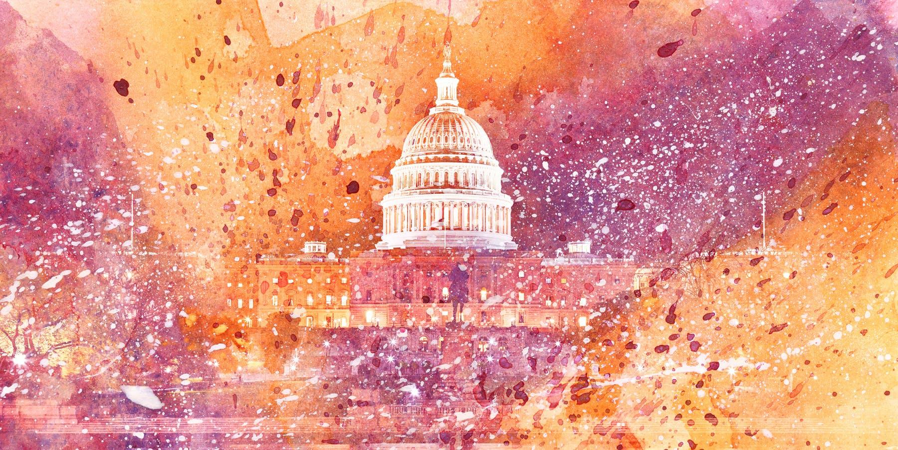 Acrylic DC Capitol - Yellow & Purple