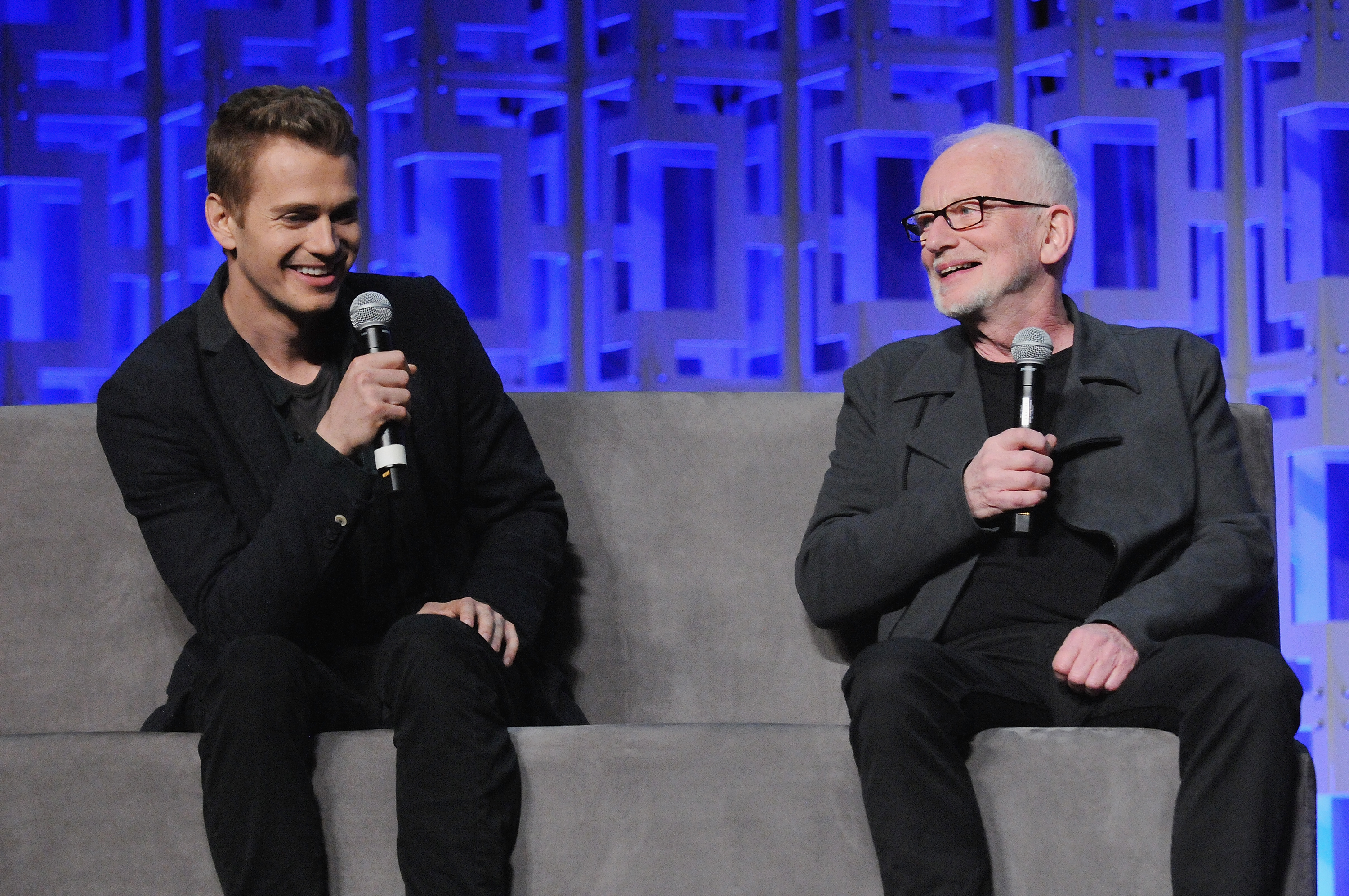 ORLANDO, FL - APRIL 13:  Hayden Christensen and Ian McDiarmid attend the 40 Years of Star Wars panel during the 2017 Star Wars Celebration at Orange County Convention Center on April 13, 2017 in Orlando, Florida.  (Photo by Gerardo Mora/Getty Images for Disney)