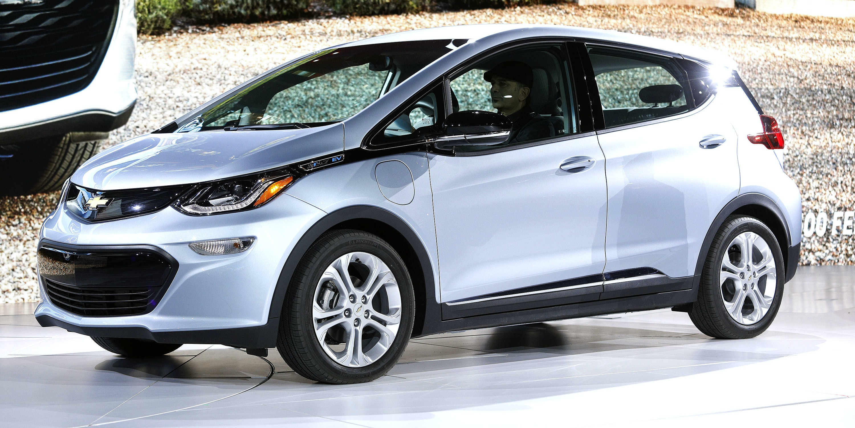 DETROIT, MI - JANUARY 9: The all-electric Chevrolet Bolt EV is shown on stage after it won the Car of the Year Award at the 2017 North American International Auto Show on January 9, 2017 in Detroit, Michigan. Approximately 5000 journalists from around the world and nearly 800,000 people are expected to attend the NAIAS between January 8th and January 22nd to see the more than 750 vehicles and numerous interactive displays. (Photo by Bill Pugliano/Getty Images)