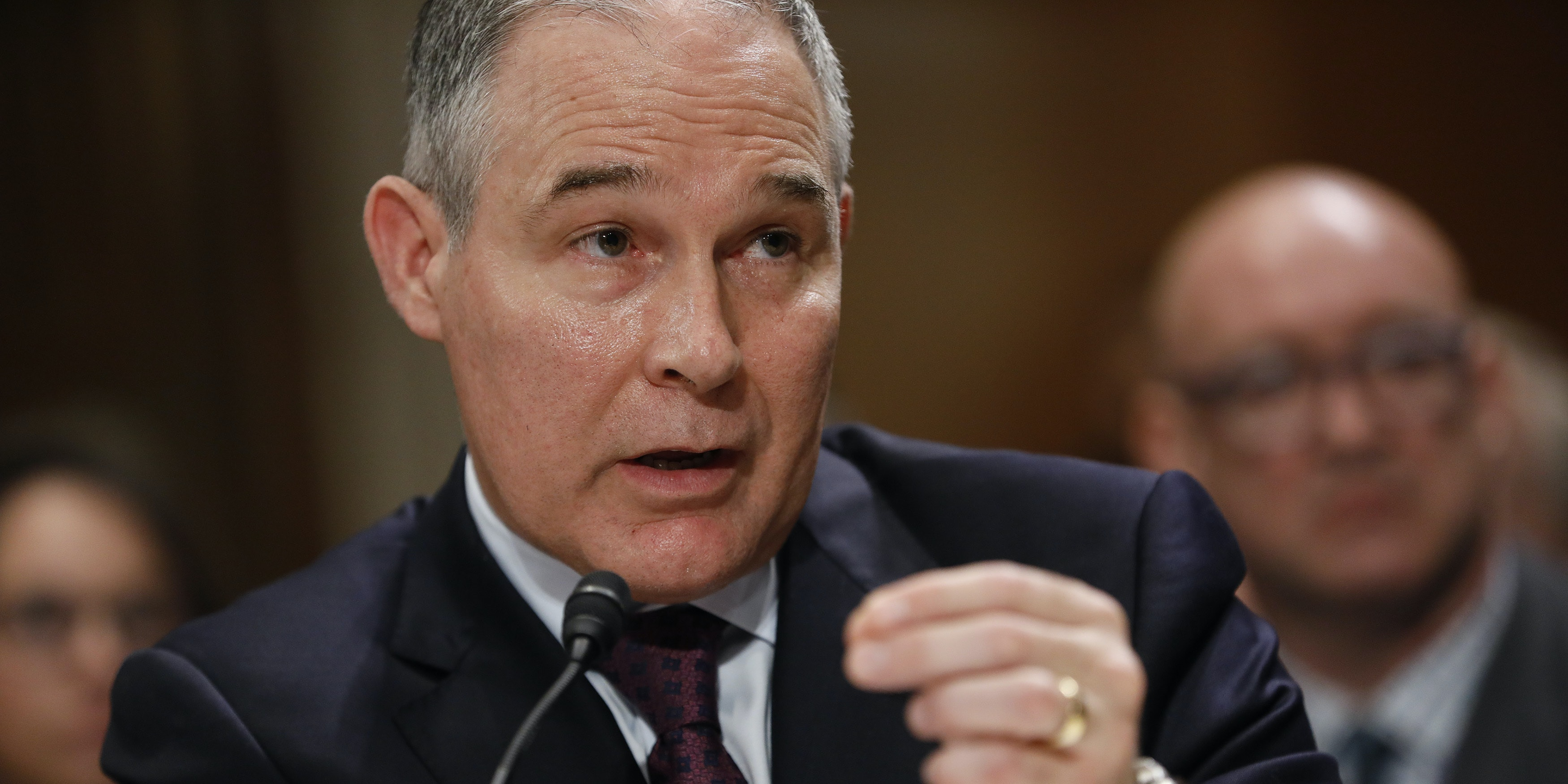 WASHINGTON, DC - JANUARY 18: Oklahoma Attorney General Scott Pruitt, President-elect Donald Trump's choice to head the Environmental Protection Agency, testifies during his confirmation hearing before the Senate Committee on Environment and Public Works on Capitol Hill January 18, 2017 in Washington, DC. Pruitt is expected to face tough questioning about his stance on climate change and ties to the oil and gas industry.   (Photo by Aaron P. Bernstein/Getty Images)