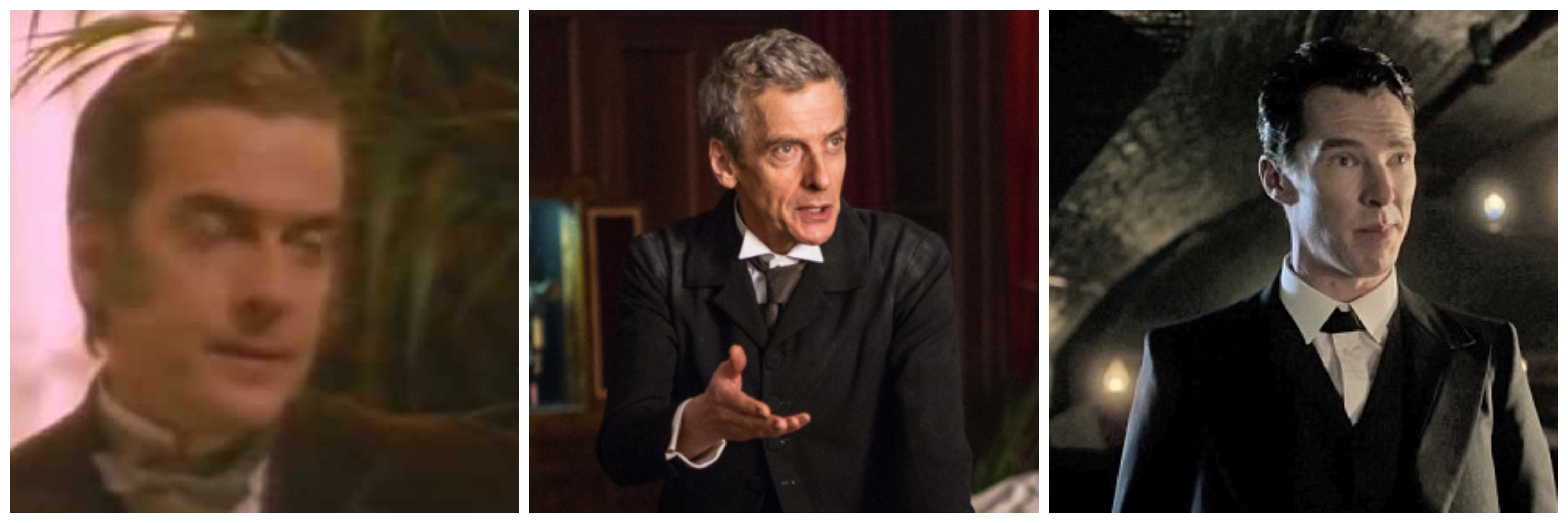 LEFT: Peter Capaldi as Sherlock Holmes. CENTER: Peter Capaldi as the Doctor. RIGHT: Benedict Cumberbatch as Holmes.