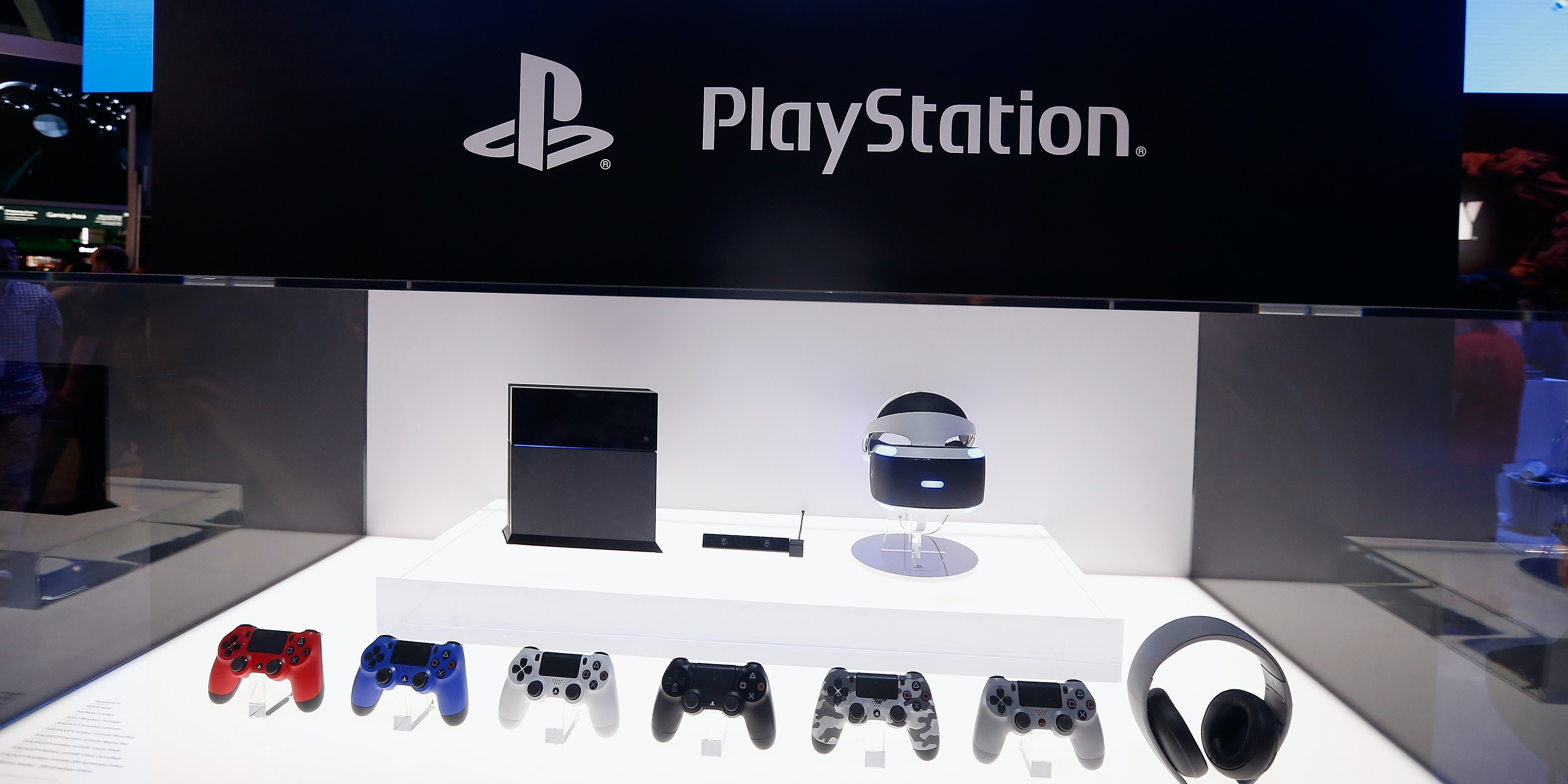 LOS ANGELES, CA - JUNE 16:  Detail of the Sony PlayStation 4 and peripherals, including the virtual reality 'Project Morpheus', during the Annual Gaming Industry Conference E3 at  the Los Angeles Convention Center on June 16, 2015 in Los Angeles, California. The Los Angeles Convention Center will be hosting the annual Electronic Entertainment Expo (E3) which focuses on gaming systems and interactive entertainment, featuring introductions to new products and technologies.  (Photo by Christian Petersen/Getty Images)