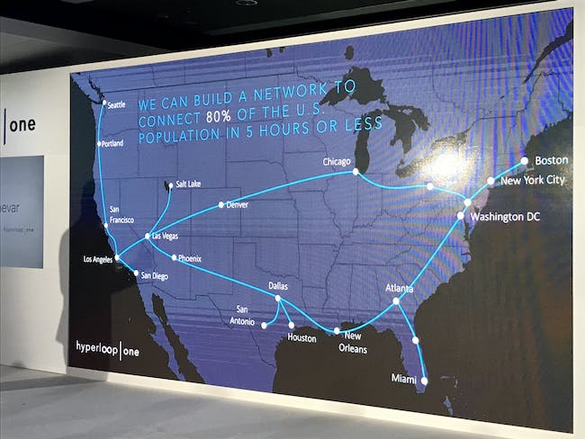 At the company press conference, Hyperloop One displayed this map of a theoretical future network.