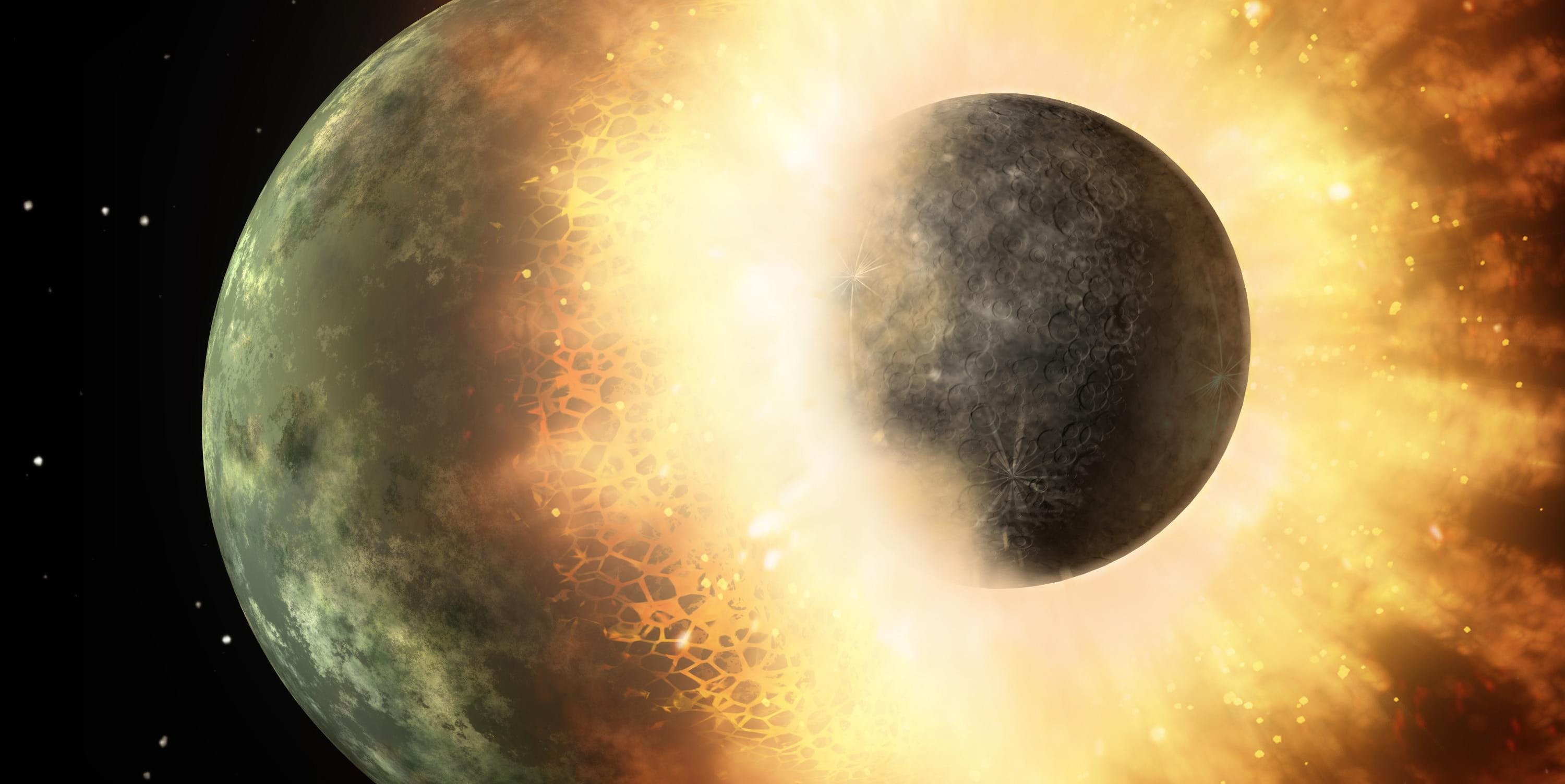 Illustration of an object about the size of the Moon, colliding into a planet