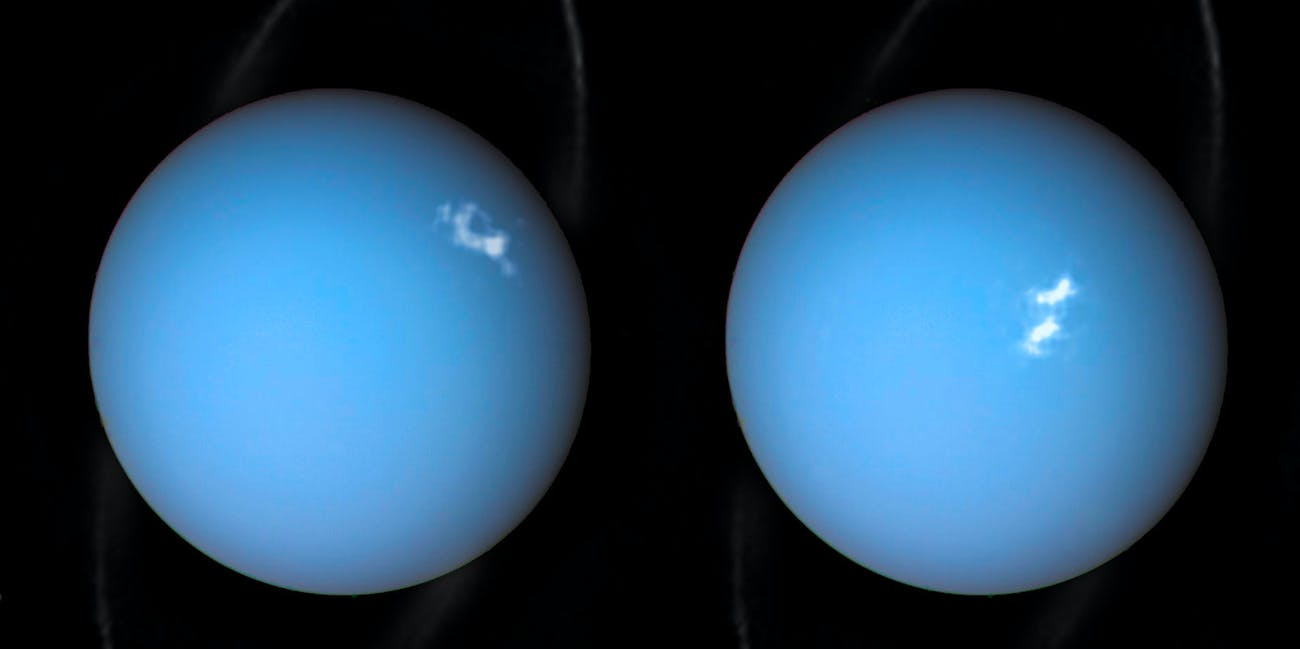 Composite image Uranus' aurorae