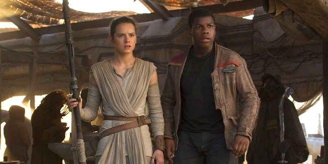 Rey (Daisy Ridley) and Finn (John Boyega) in 'The Force Awakens'.