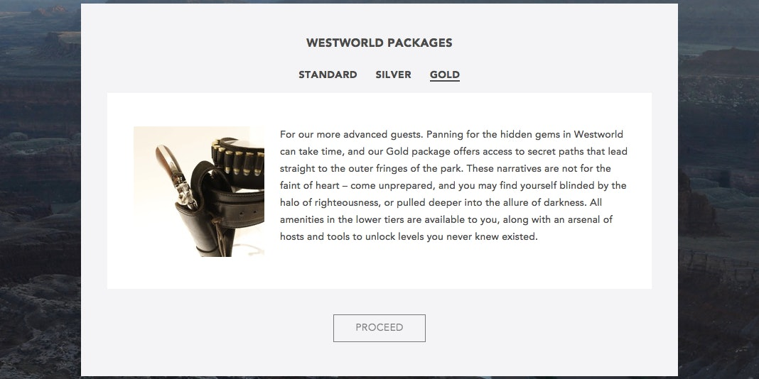 """Westworld's """"Gold"""" package."""