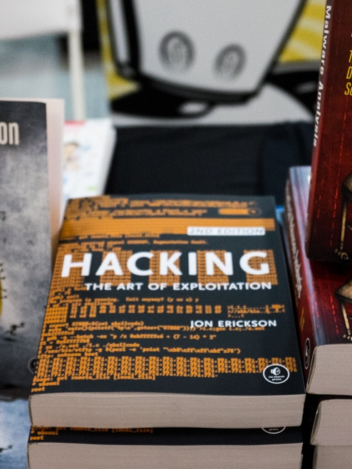 Books on sale at the Eleventh HOPE Conference in New York City.