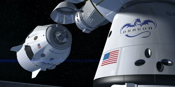 This artist's concept shows a SpaceX Crew Dragon docking with the International Space Station, as it will during a mission for NASA's Commercial Crew Program.