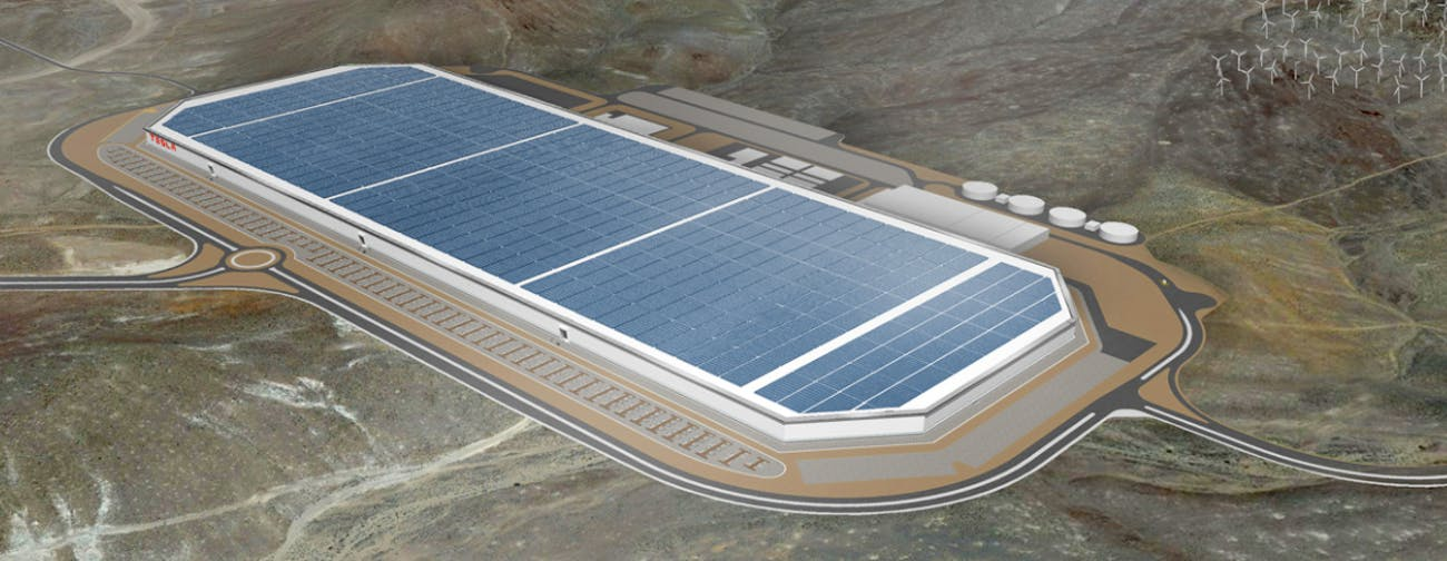 An artist's rendering of The Tesla Gigafactory in Nevada.