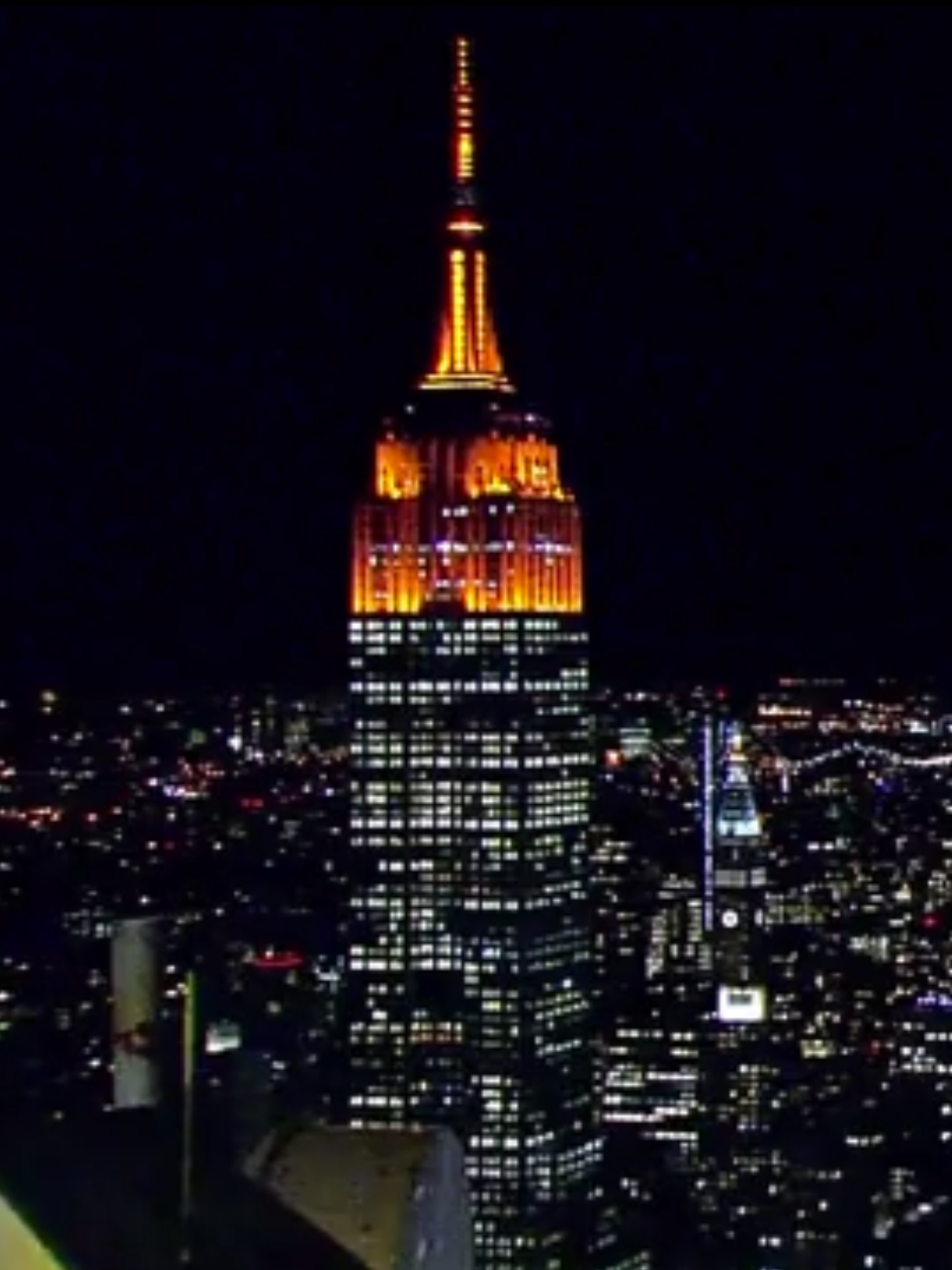 The Empire State Building is orange for Halloween.