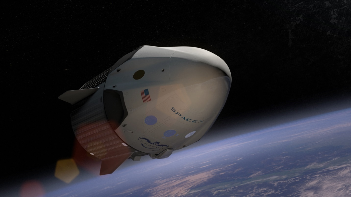 This artist's rendition shows the Dragon 2 flying through space.