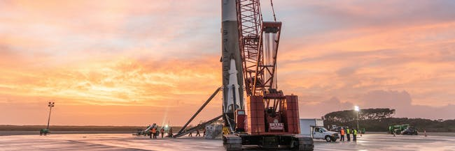 CAPE CANAVERAL, FL - DECEMBER 22: In this handout provided by the National Aeronautics and Space Administration (NASA), SpaceX's Falcon 9 first stage rocket is seen on December 22, 2015 in Cape Canaveral, Florida. (Photo by NASA via Getty Images)