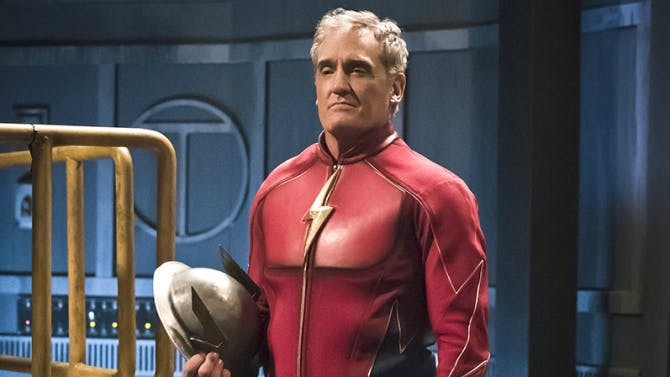 John Wesley Shipp plays both Henry Allen and Earth-3's Flash, Jay Garrick.