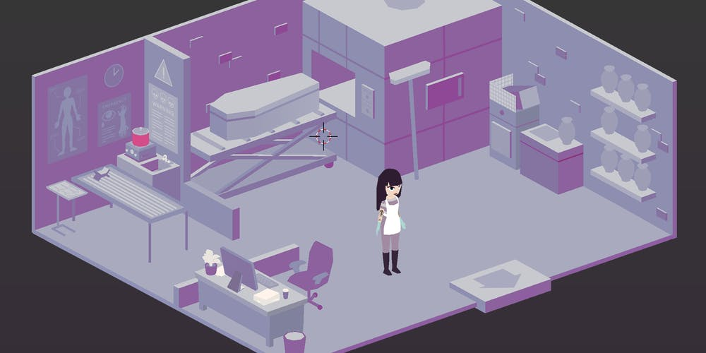 The viewing room in 'A Mortician's Tale'.