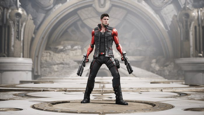 """The default skin for """"TwinBlast,"""" a character from 'Paragon' that anybody can use when working in Unreal Engine."""