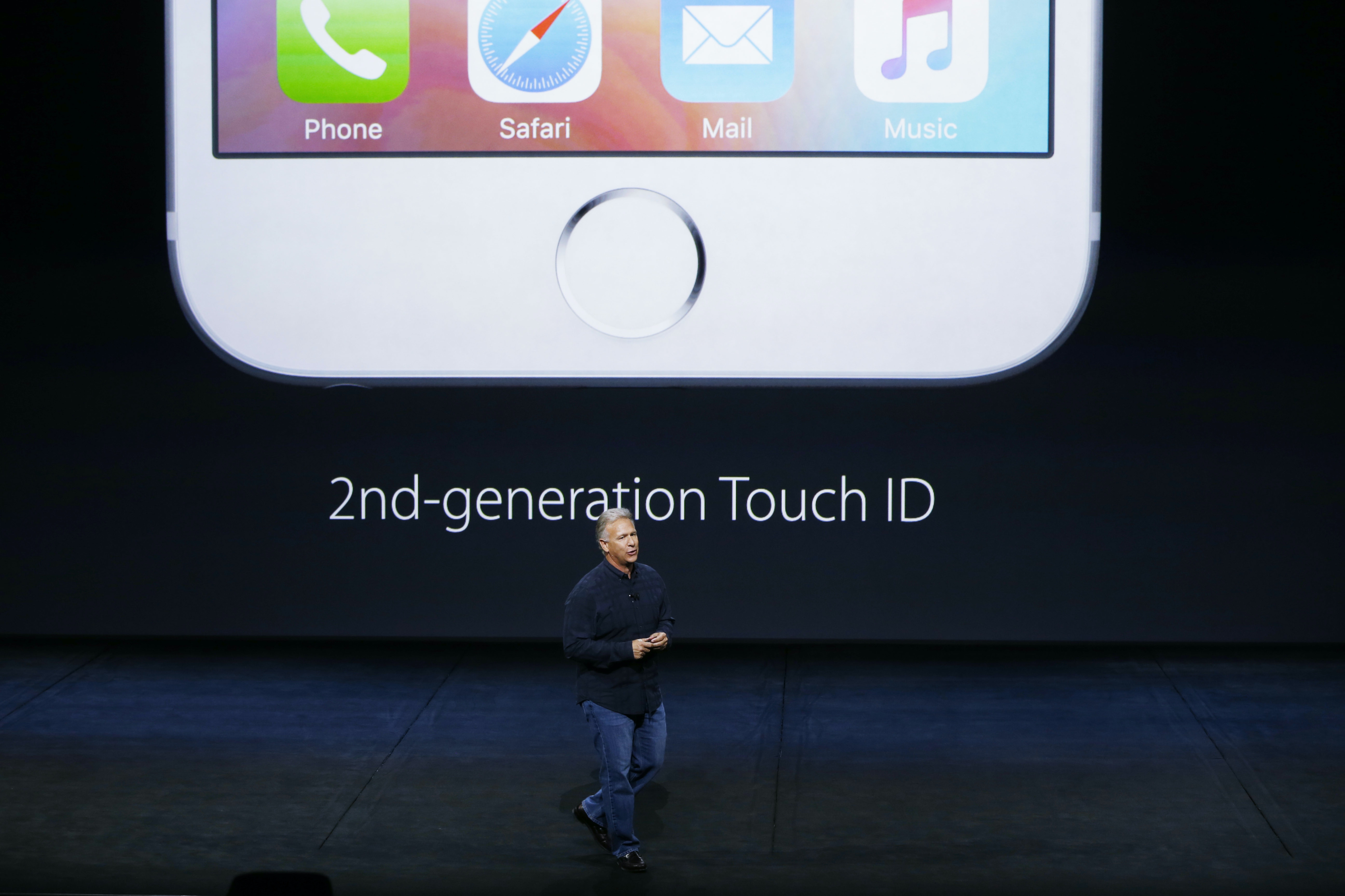 Apple Senior Vice President of Worldwide Marketing Phil Schiller speaks about the Touch ID on the new iPhone 6s and 6s Plus during a Special Event at Bill Graham Civic Auditorium September 9, 2015 in San Francisco, California.