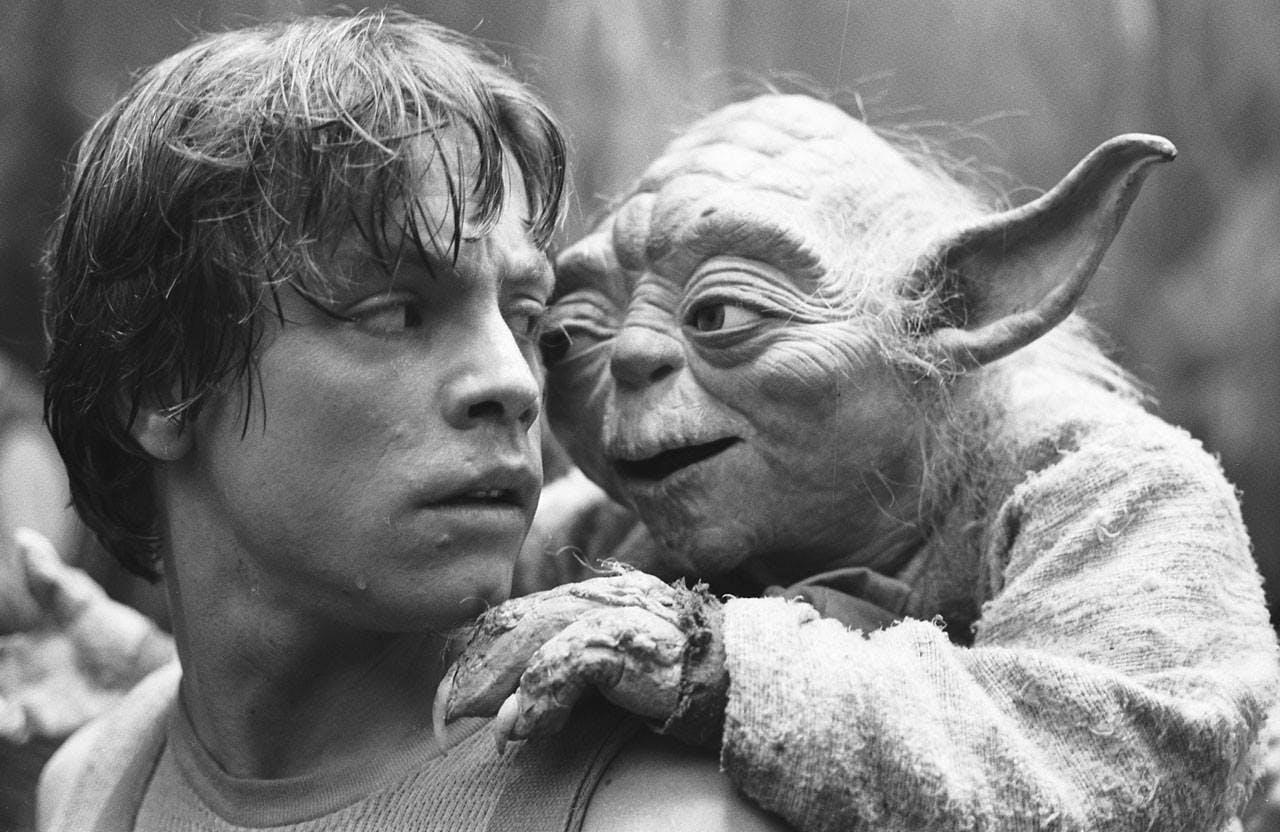 """Luke et Yoda, dans """"Star Wars V : l'Empire contre-attaque"""""""