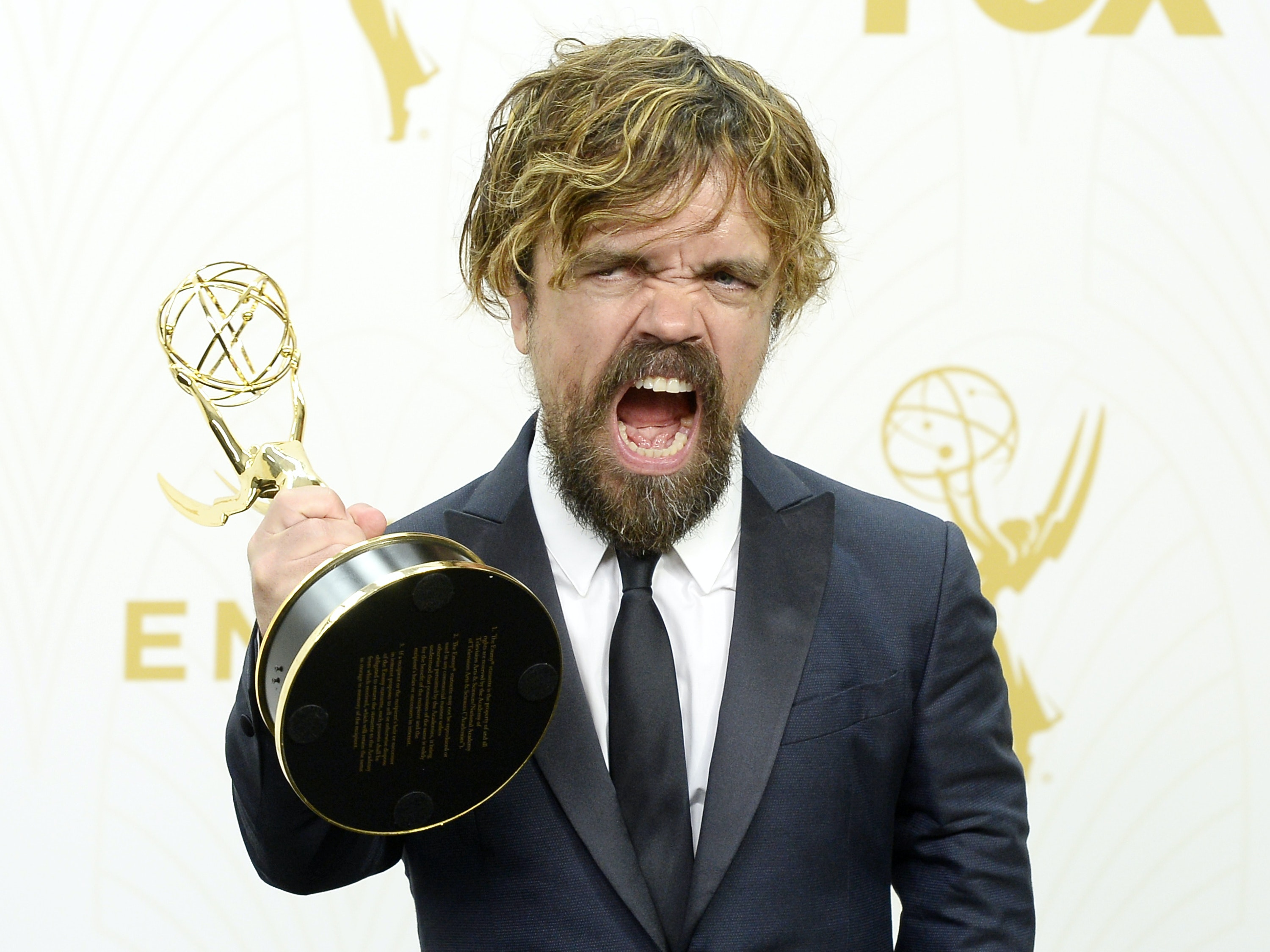Actor Peter Dinklage, winner of Outstanding Supporting Actor in a Drama Series for 'Game of Thrones', poses in the press room at the 67th Annual Primetime Emmy Awards at Microsoft Theater on September 20, 2015 in Los Angeles, California.
