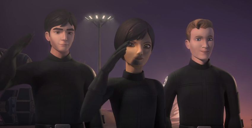 Sabine helps Wedge and Hobbie defect from the Empire in 'Rebels'