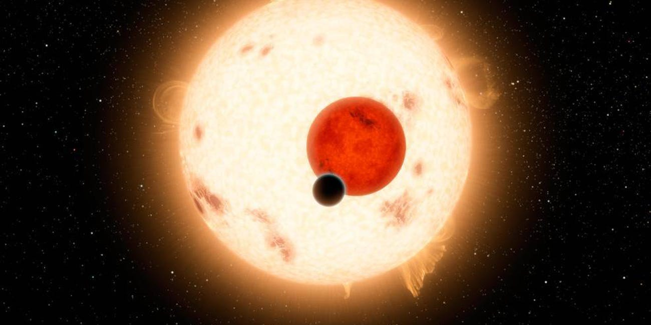 Artist's rendering of the exomoon orbiting around a gas giant Jupiter-like planet.