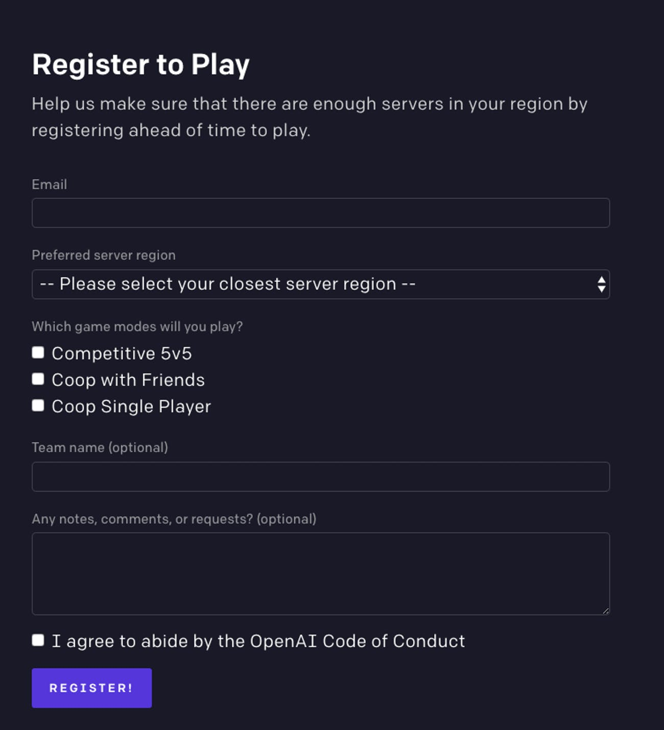 openai five register to play