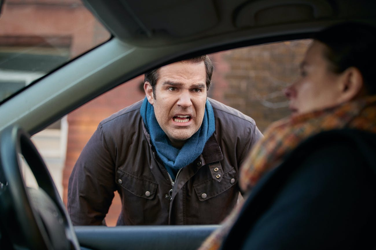 Rob has an awkward conversation with a fellow parent in 'Catastrophe' Season 3