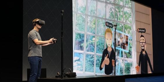 Mark Zuckeberg demonstrates new Oculus technology.