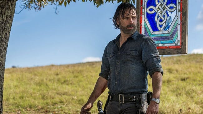 Rick at the end of 'The Walking Dead' Season 8 when he chose to spare Negan's life.