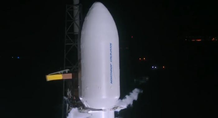 Zuma was inside this payload fairing, seen here in the pre-launch webcast.
