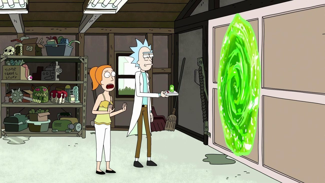Summer and Rick use the portal gun inside the Smith family garage.
