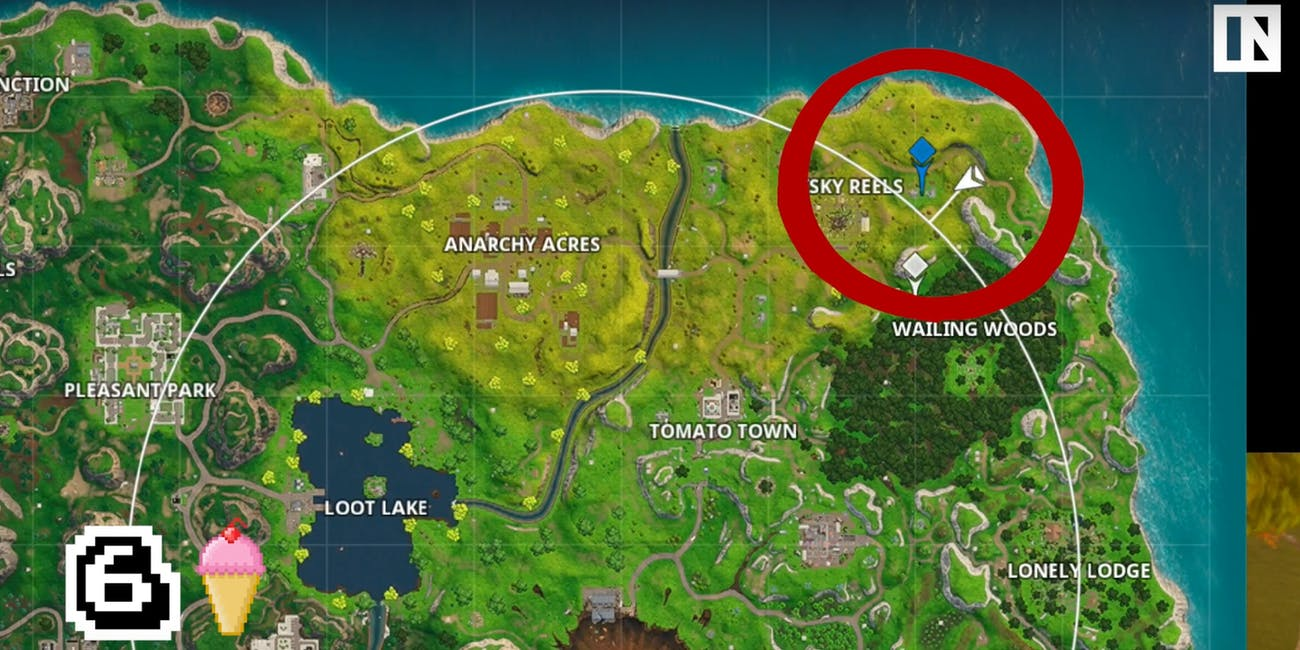 The Ice Cream Zone is just northeast of Risky Reels.
