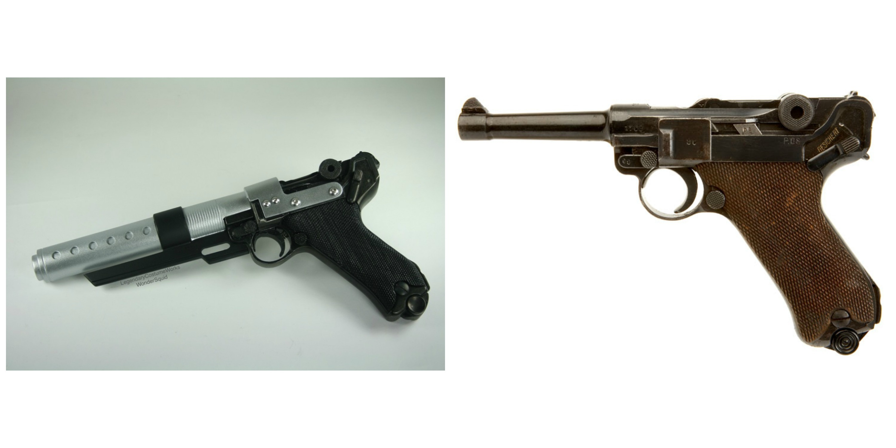 Right: Jyn's blaster from 'Rogue One.' Left:  WWI Luger from around 1914.