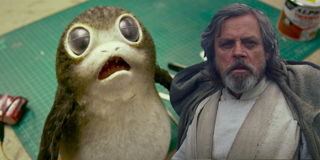 Does that Porg looks scared because of that hungry look in Luke's eye?