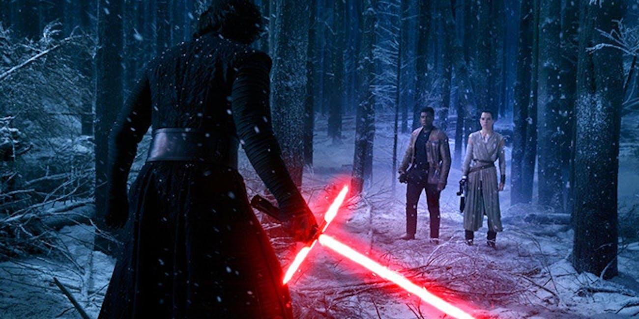 Adam Driver, Daisy Ridley, John Boyega in 'Star Wars: The Force Awakens'