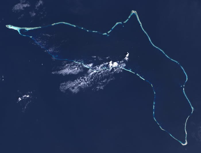"""Composite """"true color"""" multispectral satellite image of Kwajalein Atoll, Republic of Marshall Islands."""