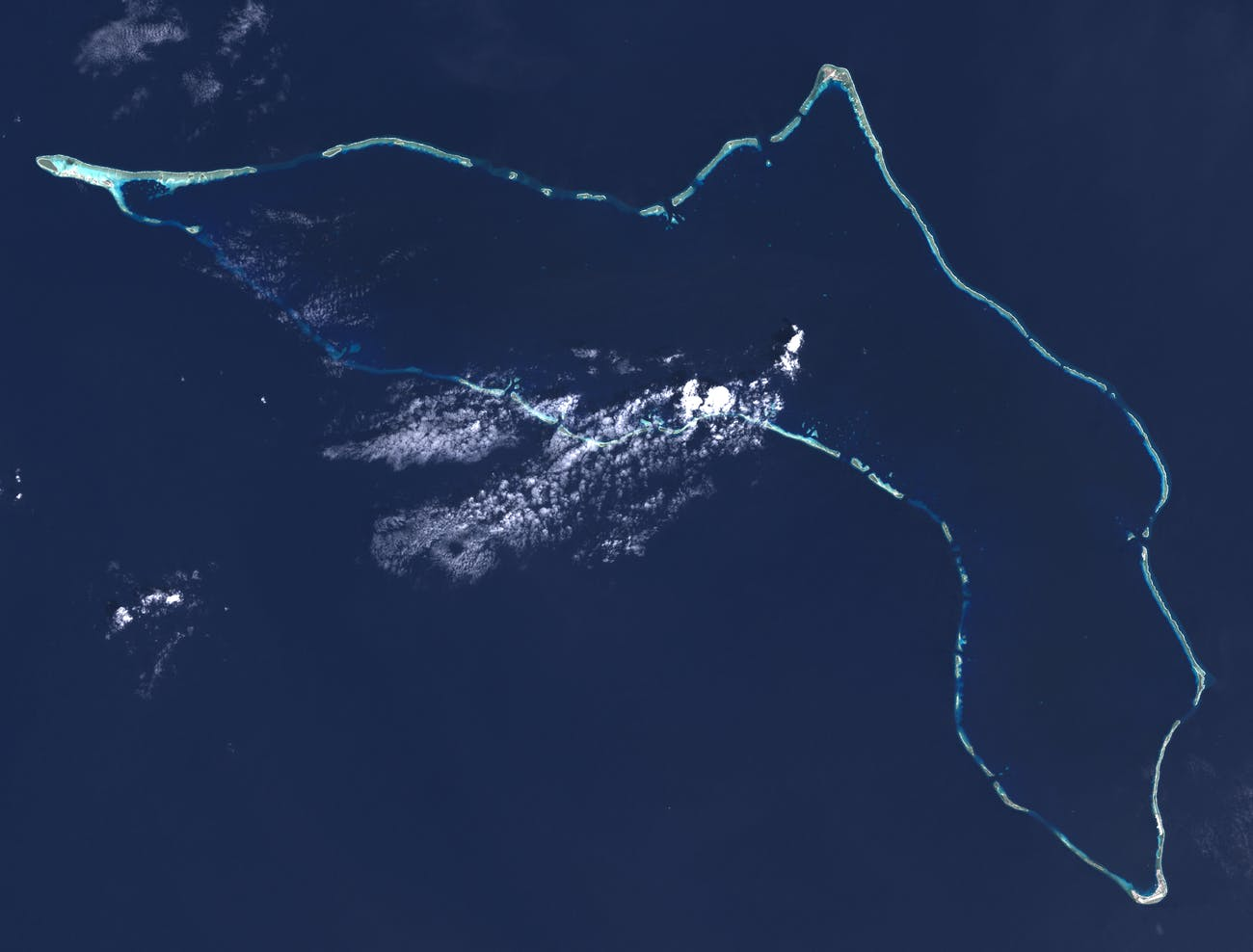 "Composite ""true color"" multispectral satellite image of Kwajalein Atoll, Republic of Marshall Islands."