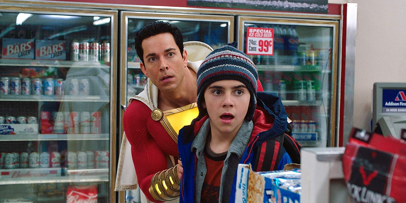 Freddy (Jack Dylan Grazer) and Shazam (Zachary Levi) in convenience store scene in 'Shazam!'