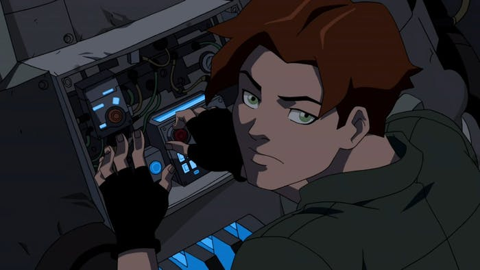 Bart Allen in 2056 tinkering with his time machine on 'Young Justice'.