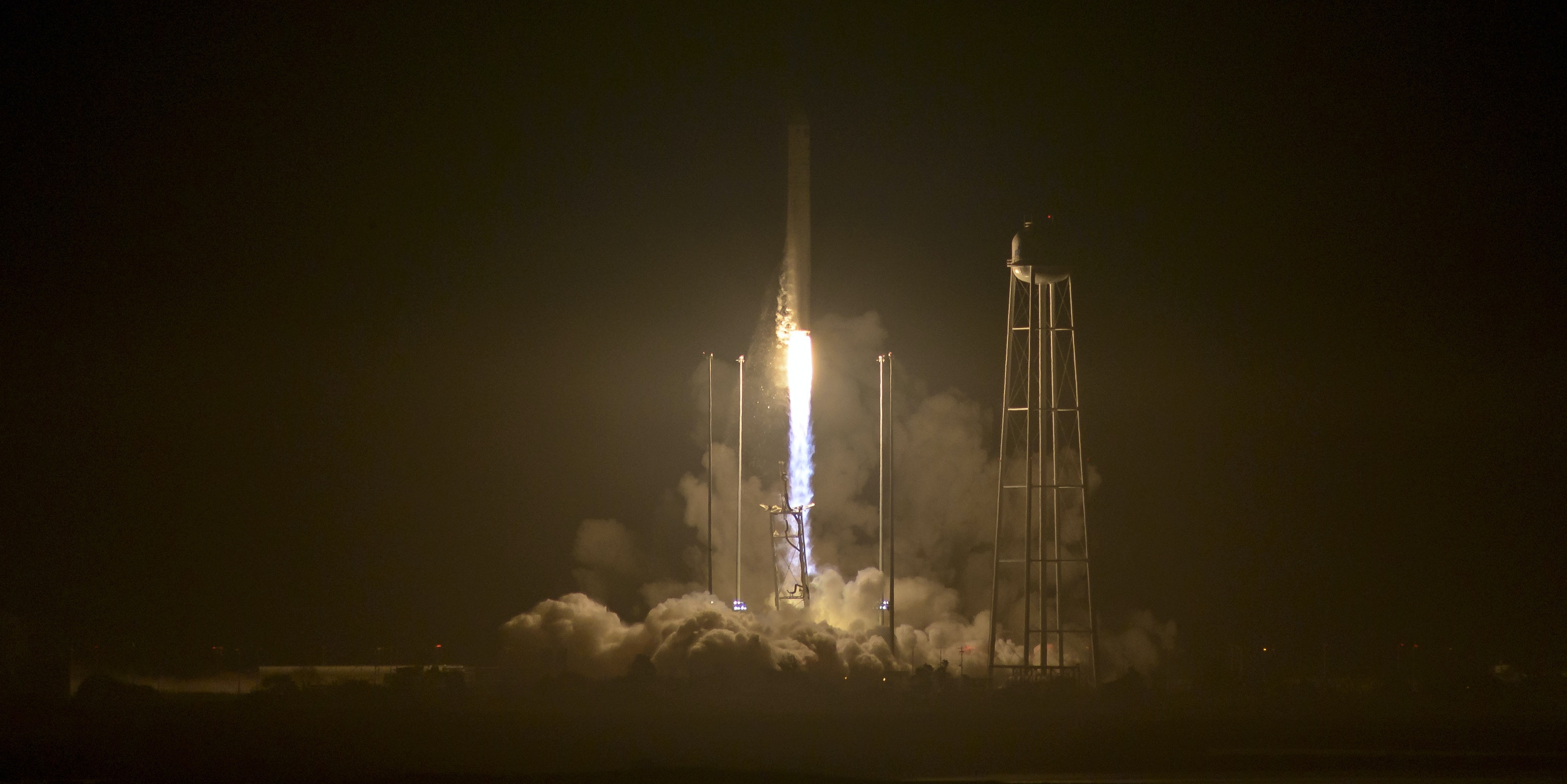 In this handout provided by NASA, the Orbital ATK Antares rocket, with the Cygnus spacecraft onboard, launches from Pad-0A at NASA's Wallops Flight Facility on October 17, 2016 in Wallops Island, Virginia. Orbital ATK's sixth contracted cargo resupply mission with NASA to the International Space Station is delivering over 5,100 pounds of science and research, crew supplies and vehicle hardware to the orbital laboratory and its crew.