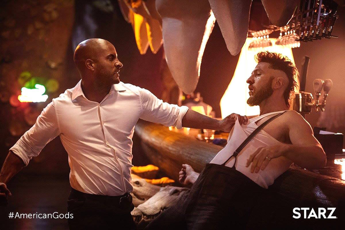Ricky Whittle as Shadow and Pablo Shreiber as Mad Sweeney in 'American Gods'
