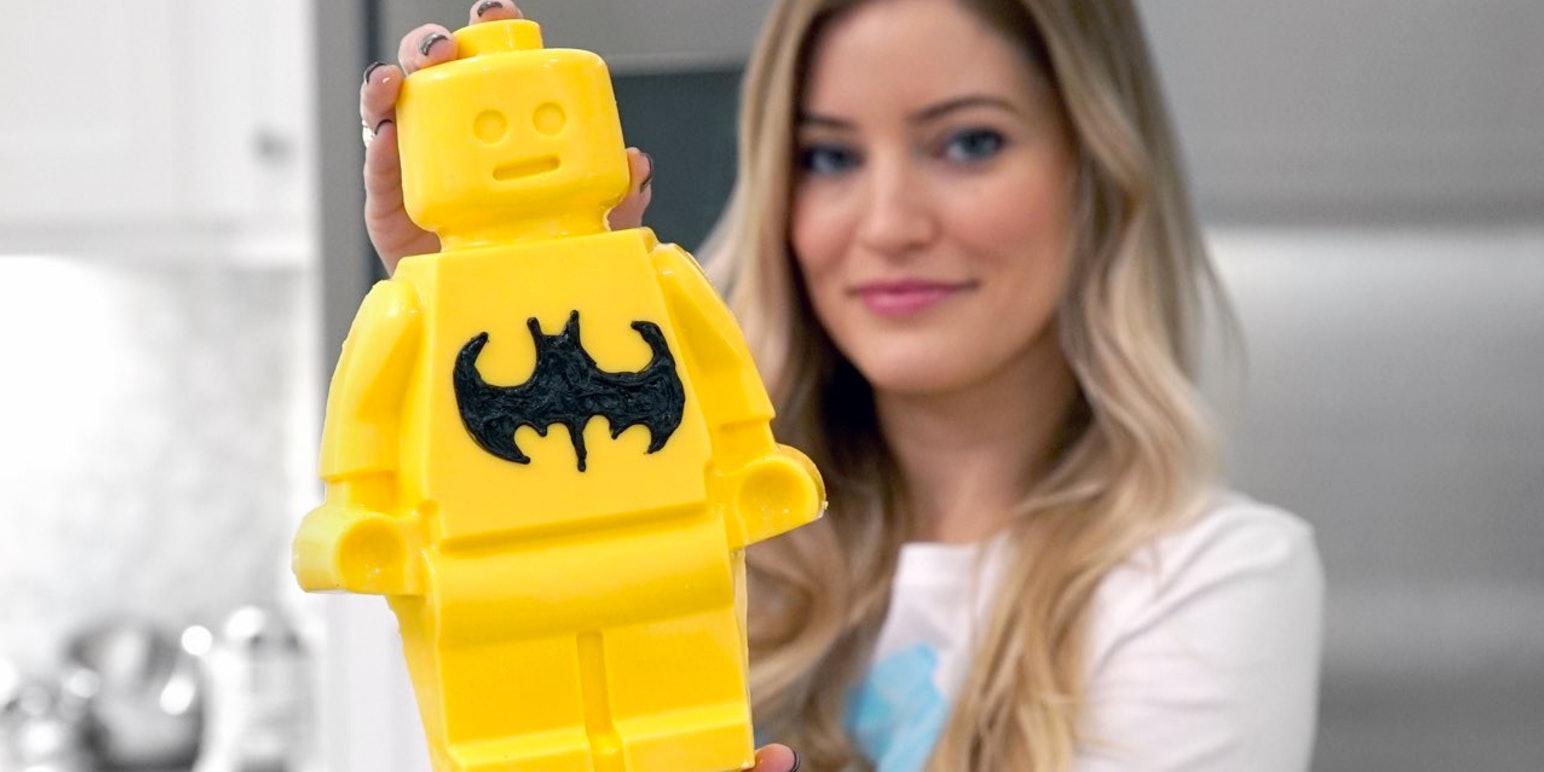 iJustine holding candy lego figure