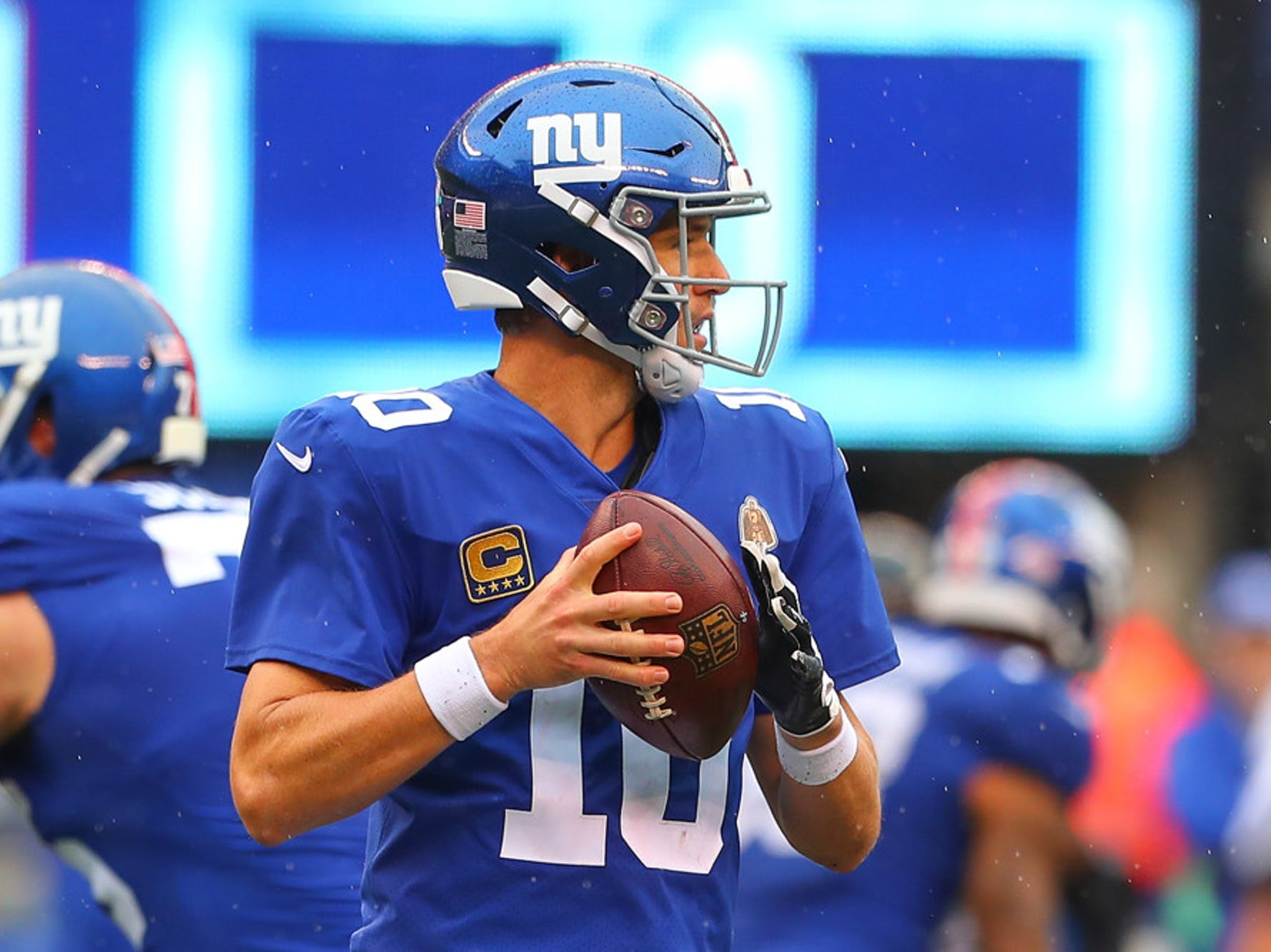 New York Giants quarterback Eli Manning (10) during the second quarter of the National Football League game between the New York Giants and the Jacksonville Jaguars on September 9, 2018 at MetLife Stadium in East Rutherford, NJ.