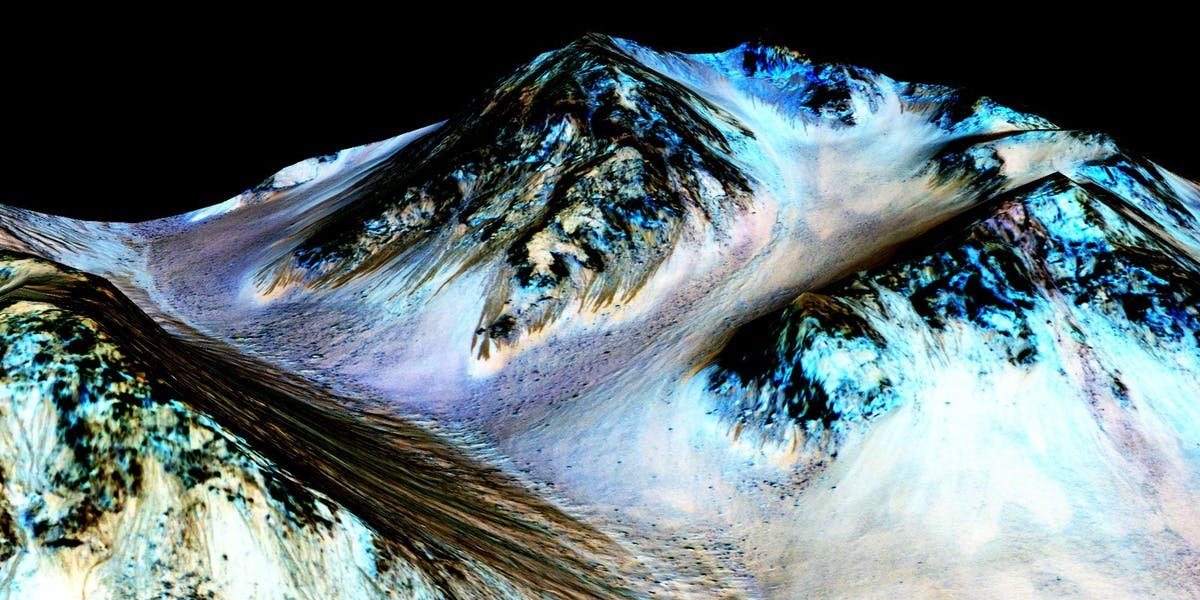 Recurring slope lineae flowing downhill on Mars -- now confirmed to be shaped by liquid water.